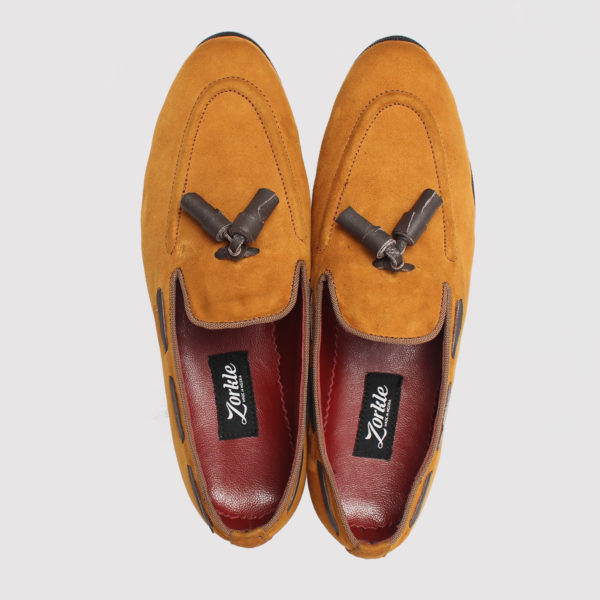 Zorkle Hiland tassle loafers brown suede zms077