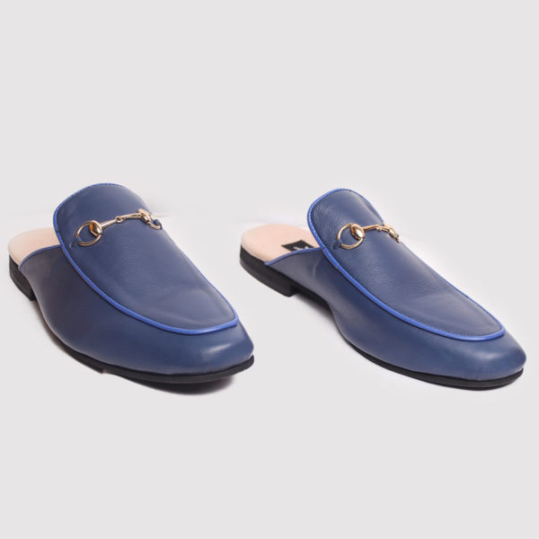 Richy Half Shoes Blue Leather ZMS085 - Zorkle Shoes