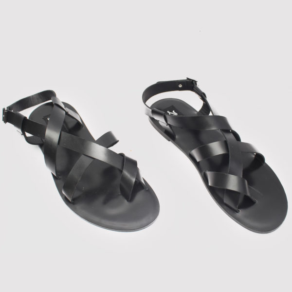 Gladiator Toe Sandals Black Leather ZMD043 - Zorkle Shoes