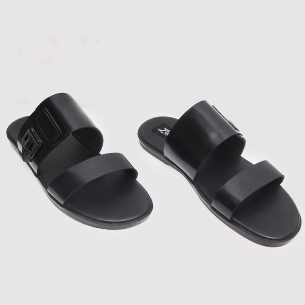 Double Strap Slides Black Leather ZMP082 - Zorkles Shoes
