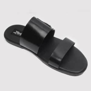Double Strap Slides Black Leather ZMP082 - Zorkles Shoes