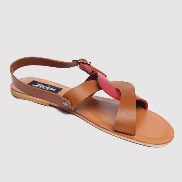 CeeCee Sandals Red Brown Leather ZFD033 - Zorkle Shoes, Nigeria