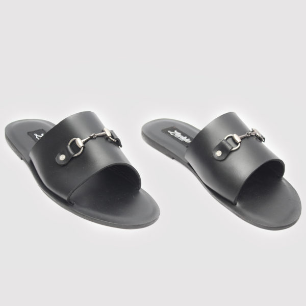 Nero slippers Black Leather ZMP077 - Zorkles Shoes