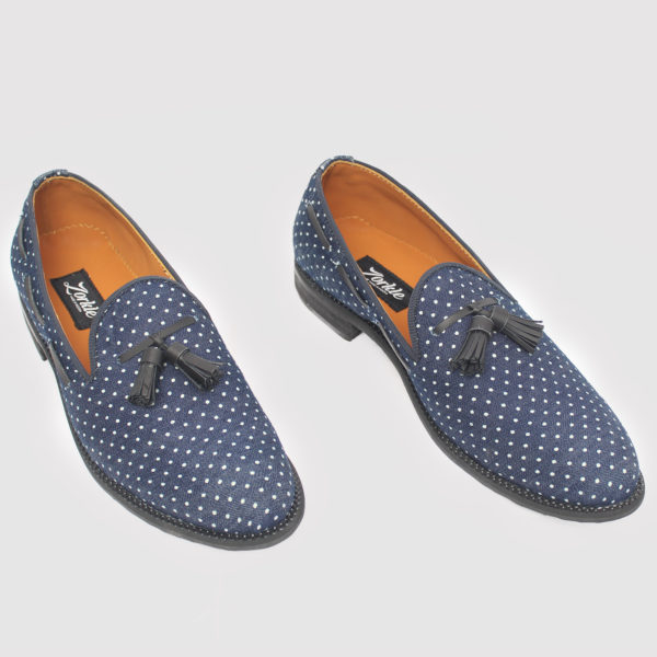 Dortman Tassel Loafers Blue Fabric ZMS083 - Zorkle Shoes
