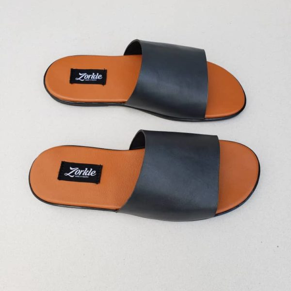 Derbo Slippers Black Leather ZMP113 - Zorkle Shoes