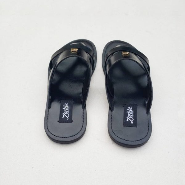 Kenni Slippers Black Leather ZMP079 - Zorkles Shoes