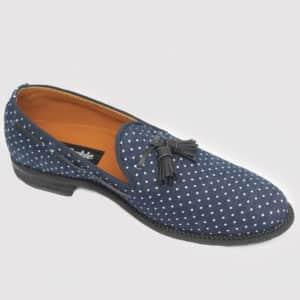 Dortman Tassel Loafers Blue Fabric ZMS083 - Zorkle Shoes
