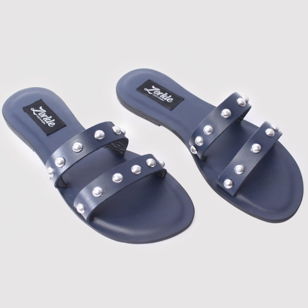 Lara Stud Slippers Blue Leather ZFP042 - Zorkle Shoes
