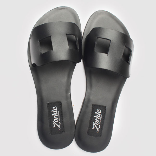 Tofs Slippers Black Leather ZFP043 - Zorkle Shoes