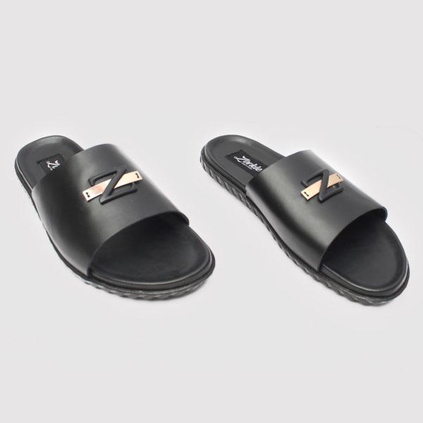 Zedo Wide Strap Slides Black Leather ZMP073 - Zorkles Shoes