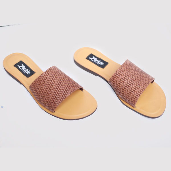 Tade Slippers Brown Leather ZFP048 - zorkle shoes