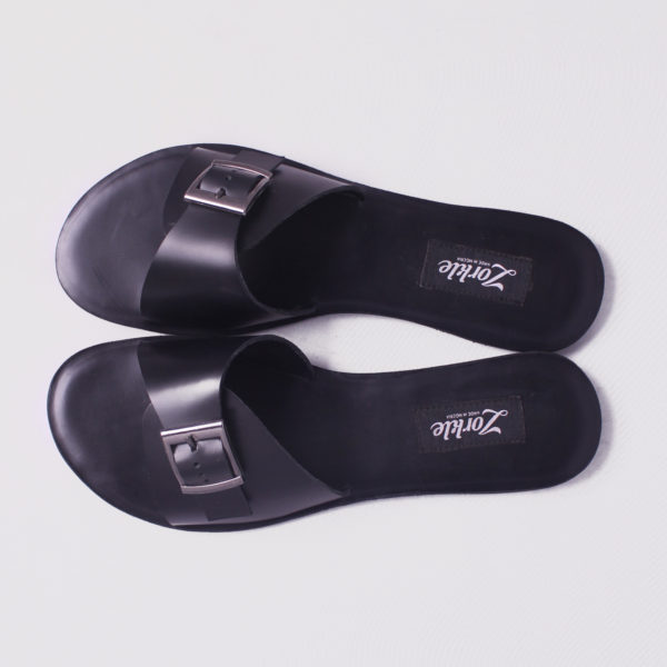 Dami Slippers Black Leather ZMD049 - zorkle shoes