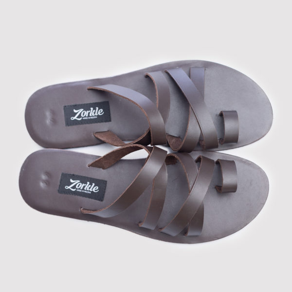 Kay Double Cross Slippers Coffee Brown Leather ZMP091 - Zorkle shoes
