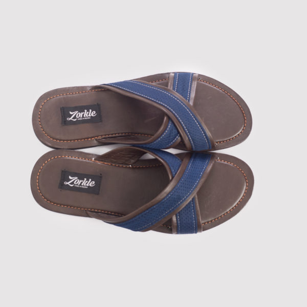 Lere Flex Cross Slippers Brown and Blue Leather ZMP092- zorkle shoes