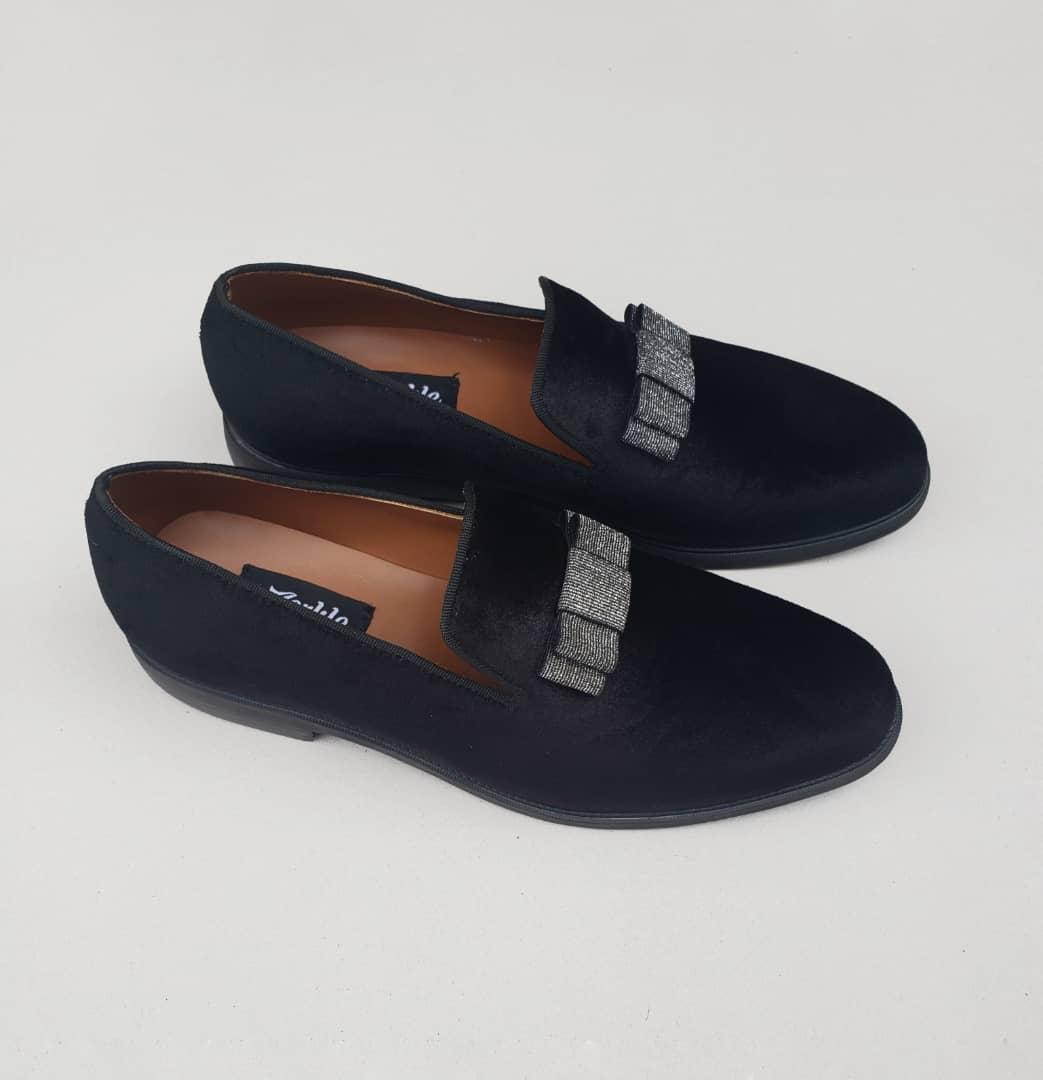 Bow Loafers Black Velvet ZMS088 - Zorkle Shoes