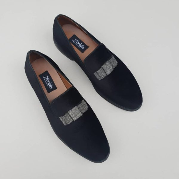 Bow Loafers Black Velvet ZMS088 - Zorkle Shoes