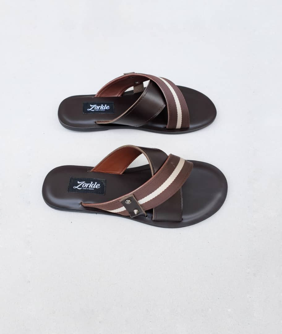 Debor Slippers Brown Leather ZMP094 - Zorkle shoes