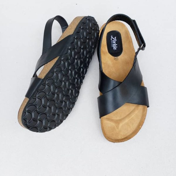 Gan Sandals Black leather ZMP095 - Zorkle shoes