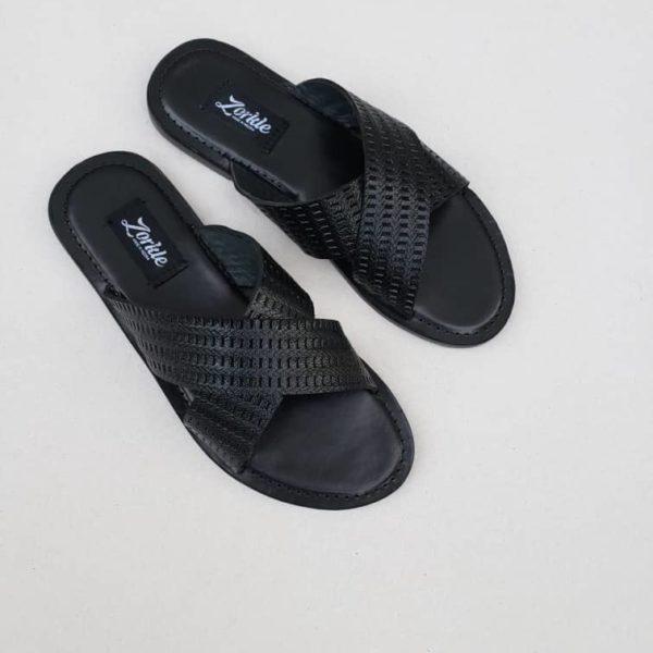 Hilland, Cross, Slippers, Black, Leather, ZMP093 - Zorkle shoes