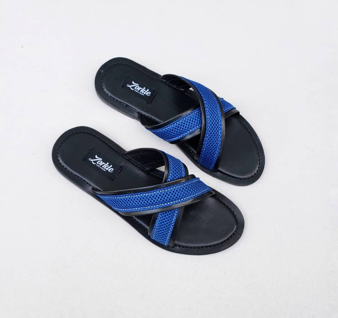 Lere Cross Slippers Black and Blue ZMP096 - Zorkle shoes