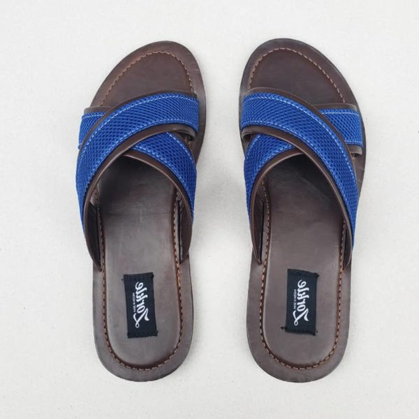 Lere Cross Slippers Coffee Brown and Blue