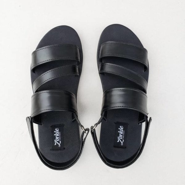 Meda Sandal Black Leather ZMD046 - zorkle shoes