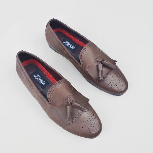 Rakeem Brogues Loafers Coffee Brown Leather ZMS090 - Zorkle Shoes