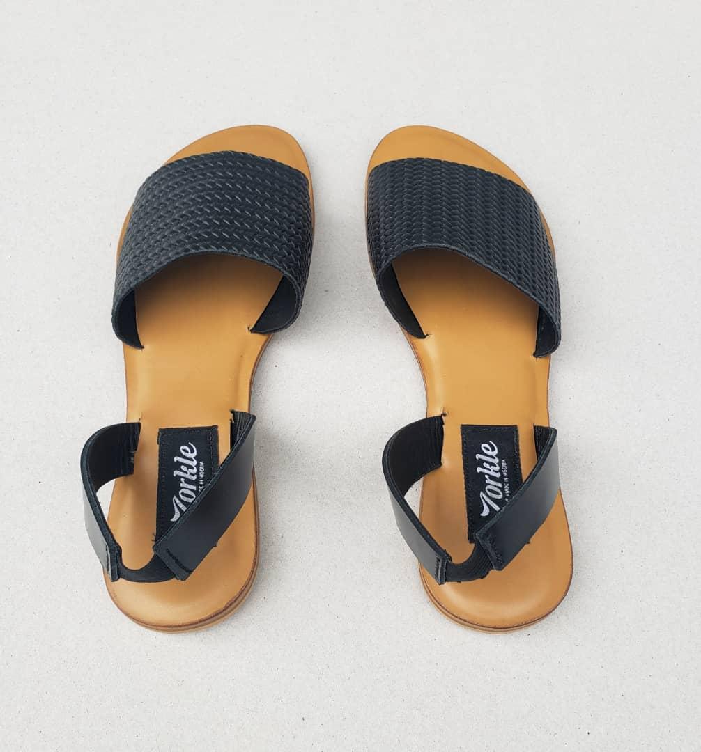 Tade Sandal Black Leather ZFD043 - Zorkle Shoes, Nigeria