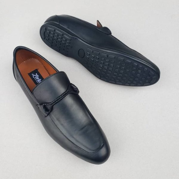 Tos Loafers Black Leather ZMS091 - Zorkle Shoes