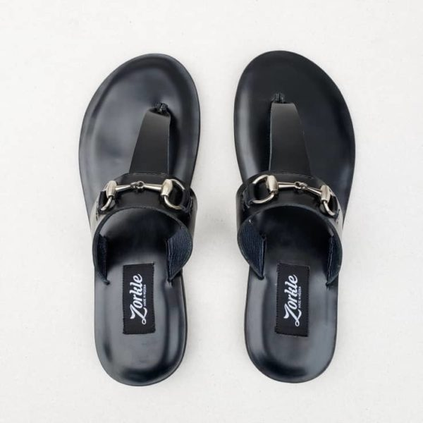 Trey Slippers Black Leather ZFP057 - Zorkle Shoes