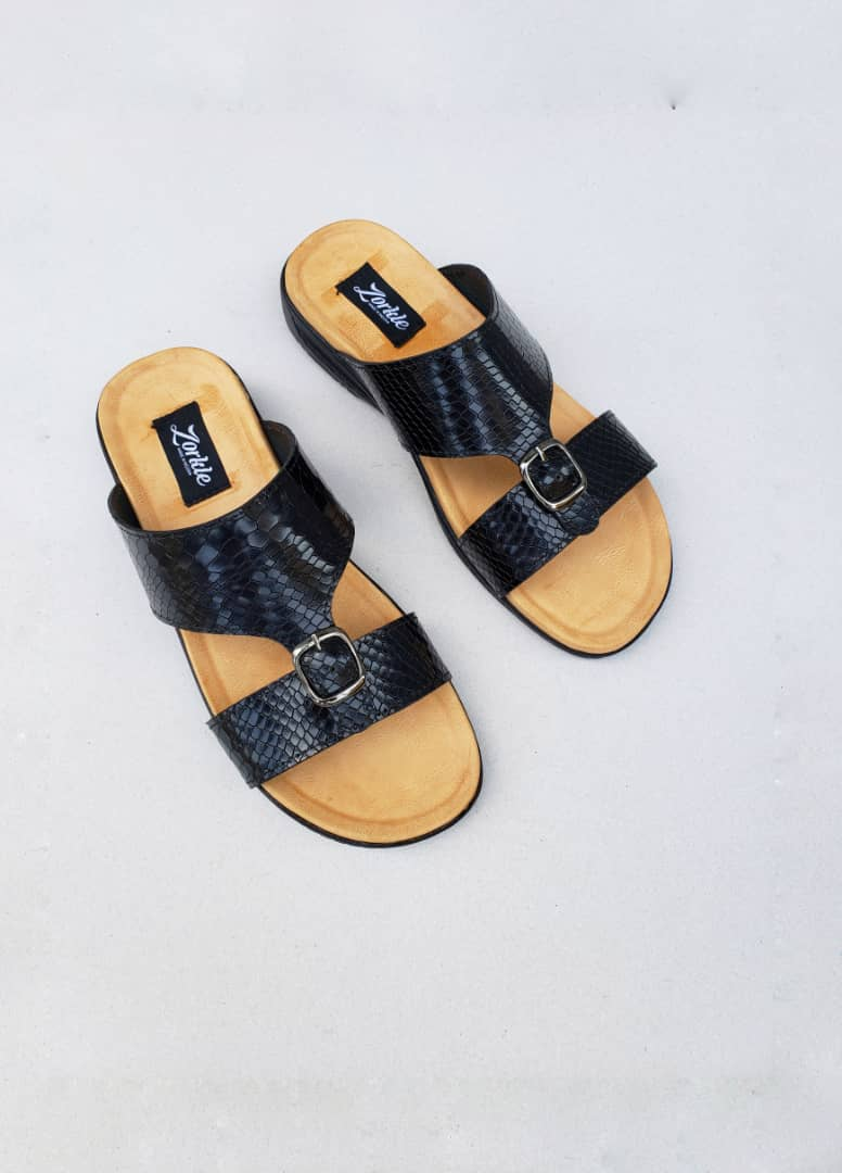 Mal Slippers Black Animal Skin ZMP092 - Zorkle shoes