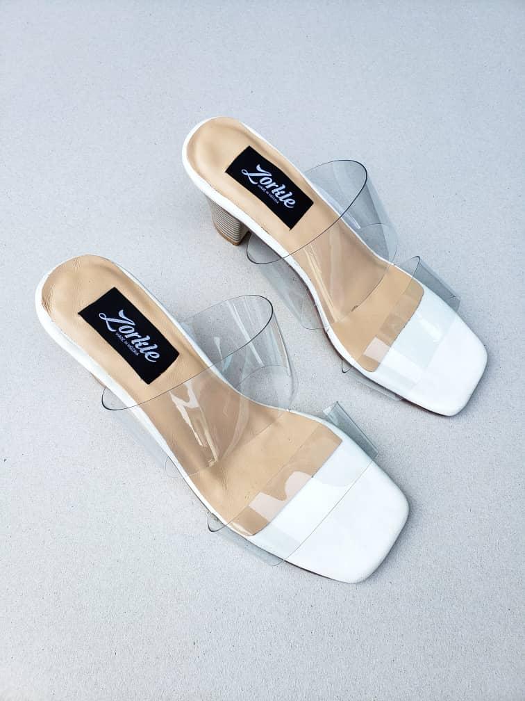 Bask Vinyl Sandal With Methacrylate Heel