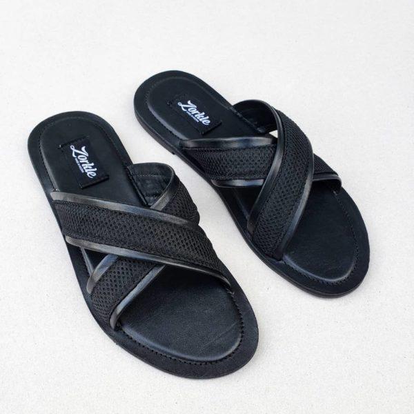 Lere Cross Slippers Black ZMP098 - Zorkle shoes
