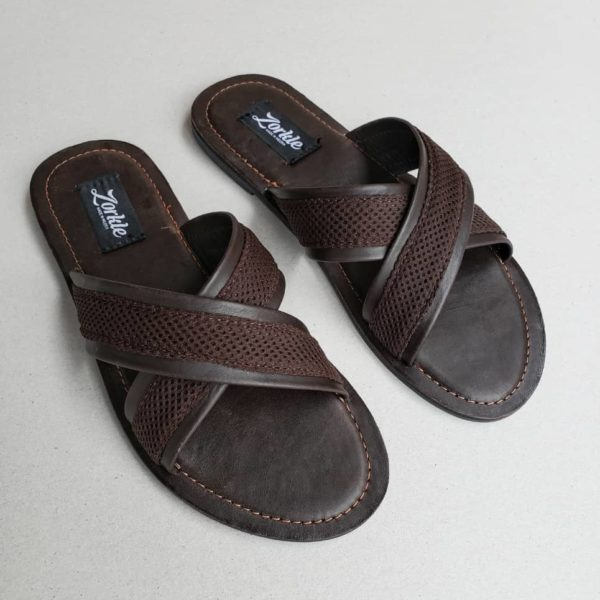 Lere Cross Slippers Coffee Brown