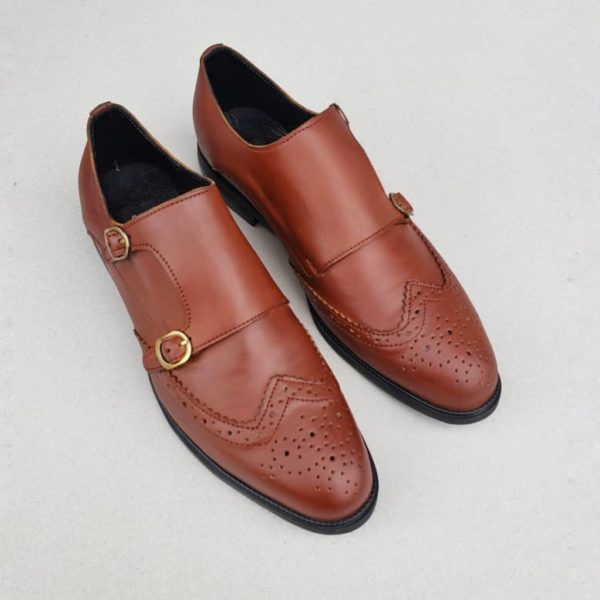Munk Brogues Brown Leather ZMS099 - Zorkle Shoes