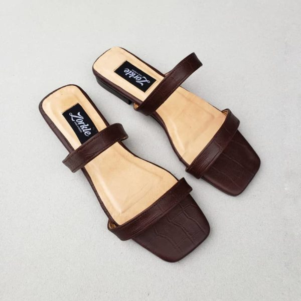Nami Flat Slippers Brown ZFP065 - zorkle shoes