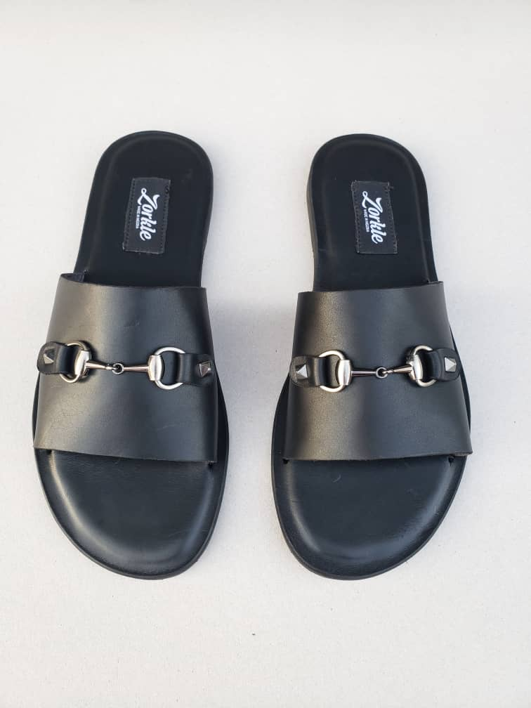 Nero Horse Bit Slippers Black Leather ZMP109 - Zorkle Shoes