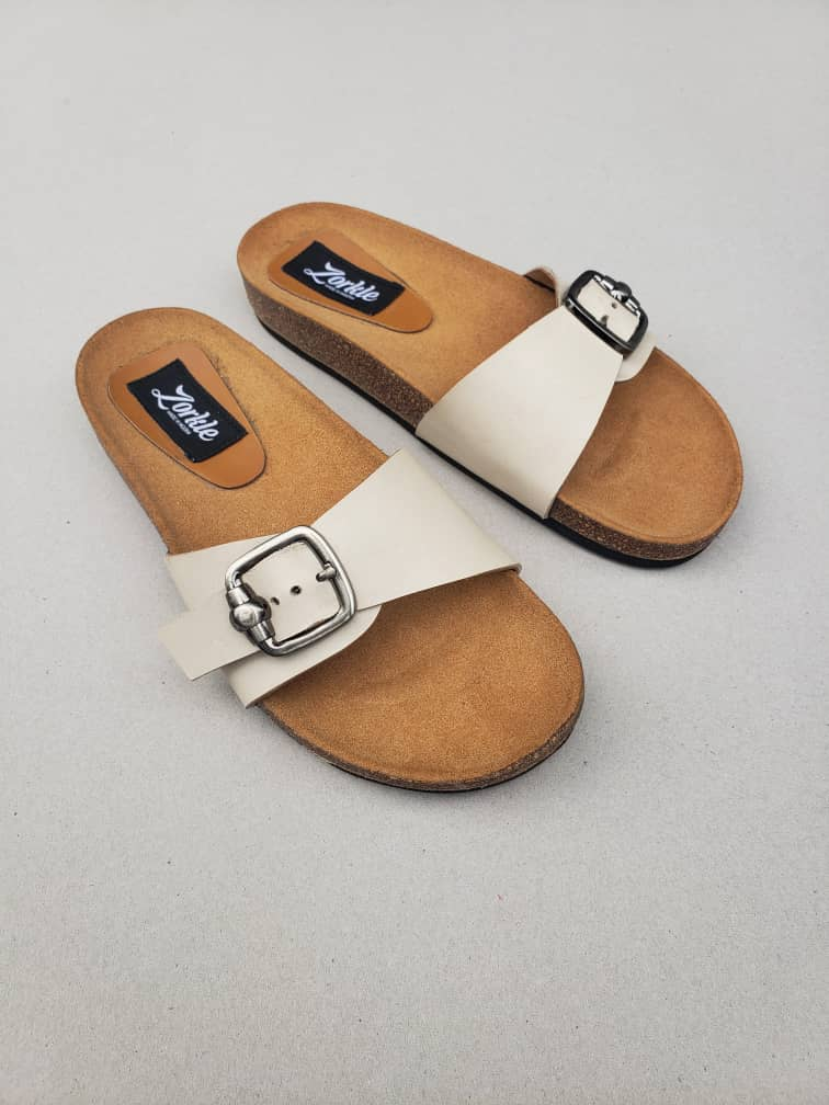 Orreh Slippers White Leather ZFP069 - zorkle shoes