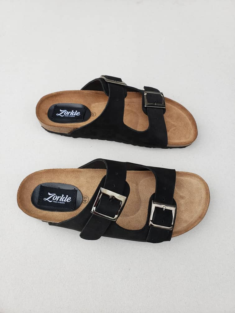 Sanji Slippers Black Nubuck ZFP074 - Zorkles Shoes