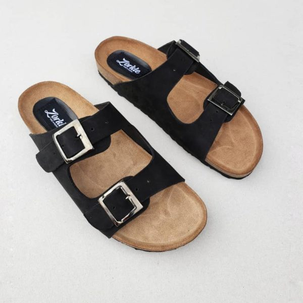 Sanji Slippers Black Nubuck ZFP074 - Zorkles Shoes