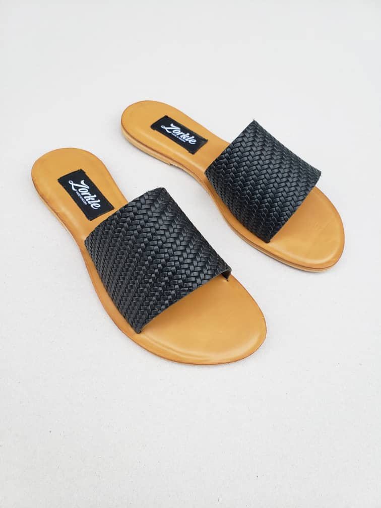 Tade Slippers Brown Leather ZFP063 - zorkle shoes
