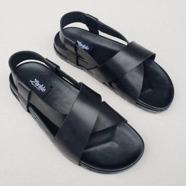 Turju Sandal Black Leather ZMD049 - zorkle shoes