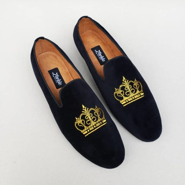 Crown Loafers Black Velvet ZMS110 - Zorkle Shoes
