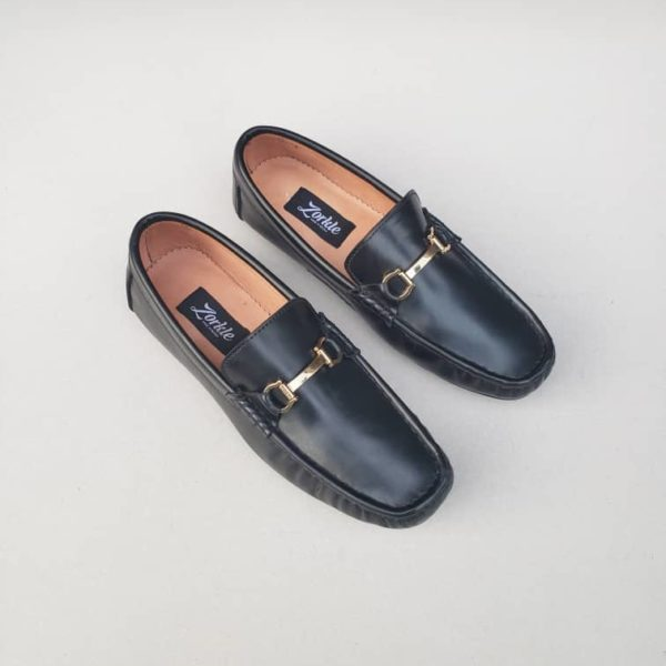 Fegz Loafers Black Leather ZMS111 - Zorkle Shoes