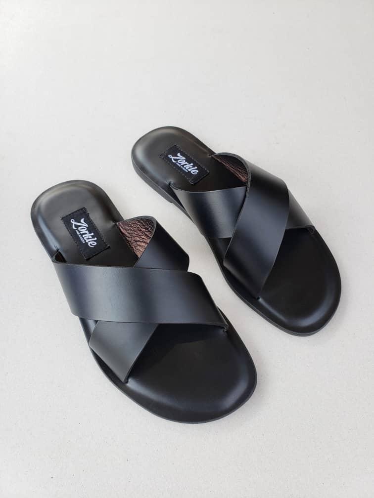 Kruss Slippers Black Leather ZMP115 - Zorkle Shoes