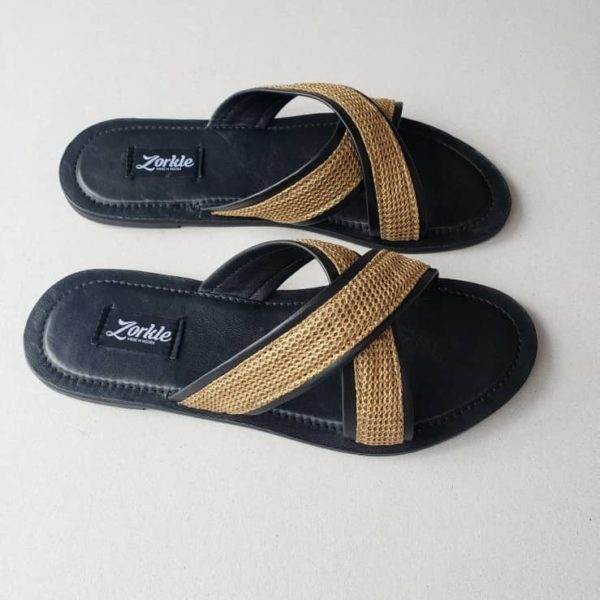 Lere Cross Slippers Black and Tan Brown
