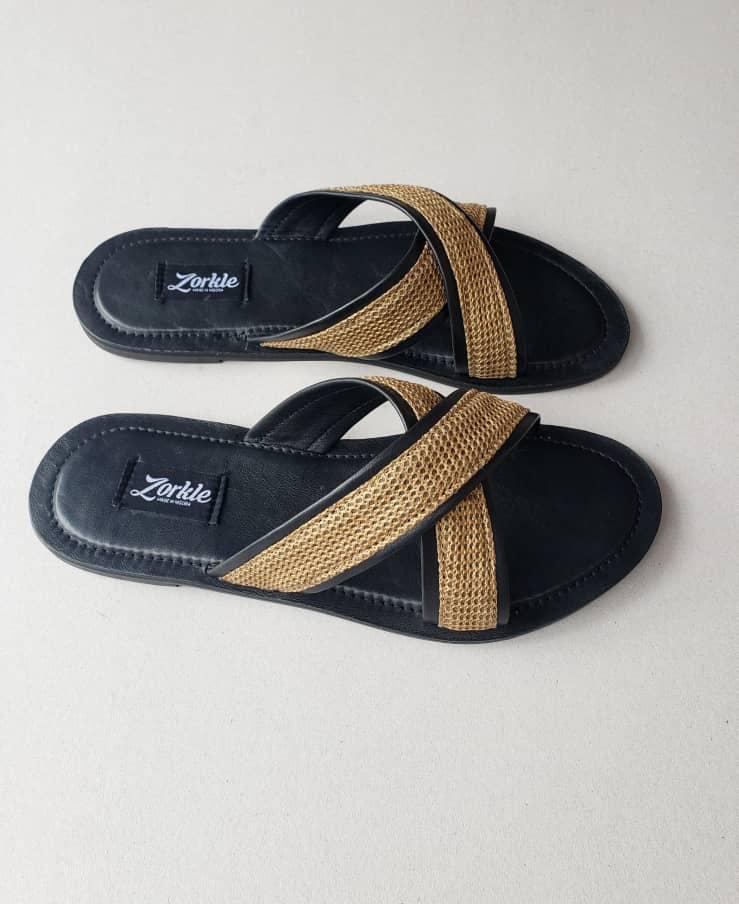 Lere Cross Slippers Black and Tan Brown