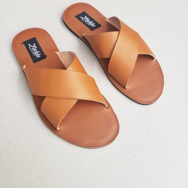 Kruss Slippers Tan Brown Leather ZMP119 - Zorkle Shoes