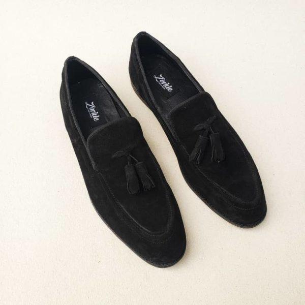 Trevor Tassel Loafers Black Suede ZMS117 - Zorkle Shoes