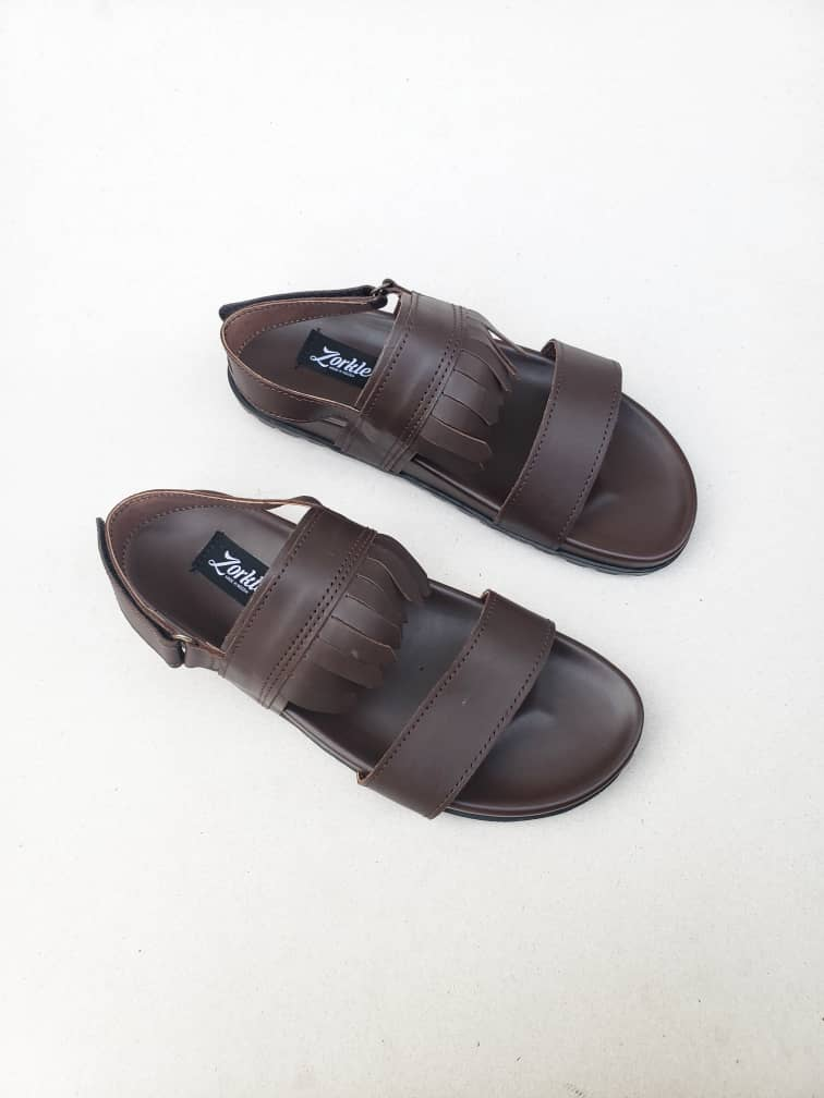 Jibs Sandal Coffee Brown Leather ZMD052 - Zorkle Shoes